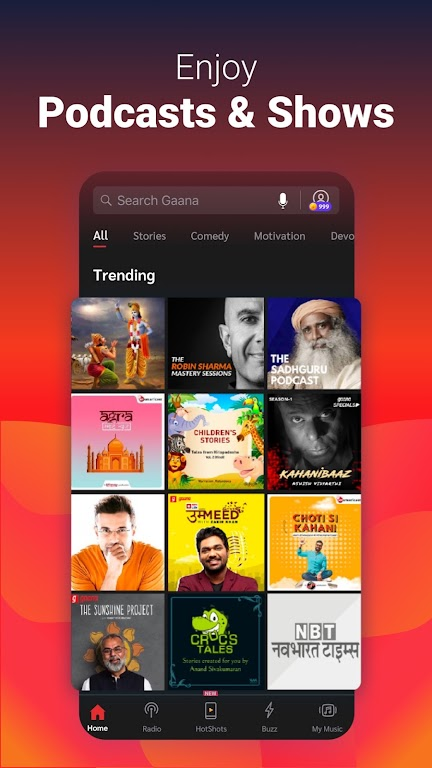 Gaana Music Hindi Song Free Tamil Telugu MP3 App  poster 1