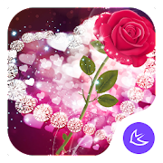Shine Red Heart Rose Love--APUS Launcher theme