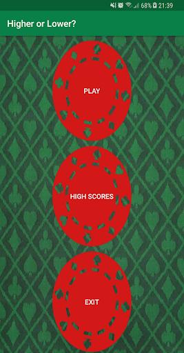 higher or lower? - card game! screenshot 1