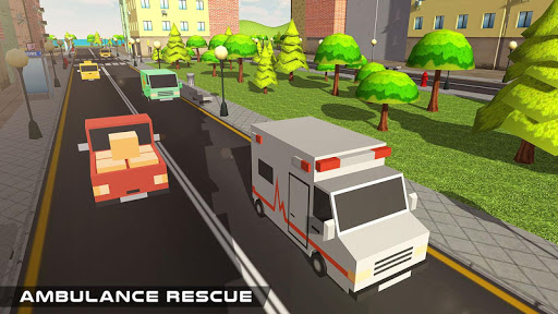 Blocky US Fire Truck & Army Ambulance Rescue Game apkmr screenshots 6