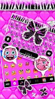 screenshot of Luxury Butterfly Zebra Keyboard Theme