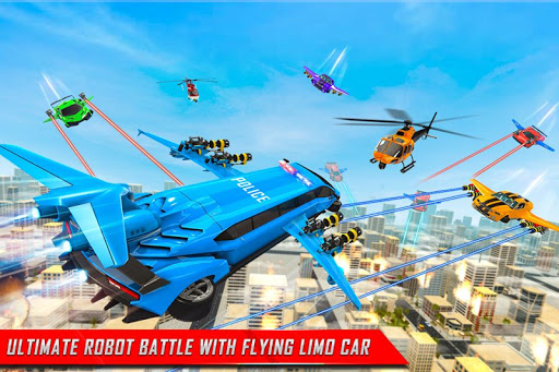 Flying Limo Robot Car Transform: Police Robot Game  screenshots 5