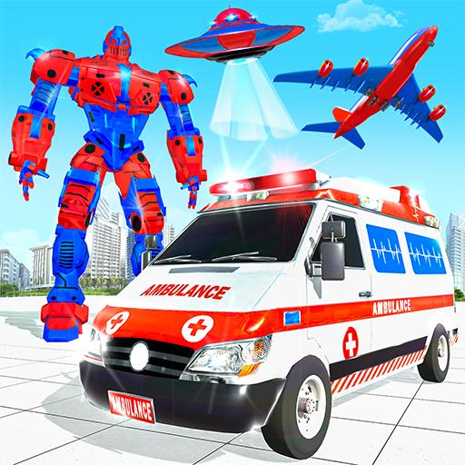 ambulans terbang mobil robot membuat game robot