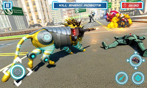 Lion Robot Transform Bike War : Moto Robot Games 1.5 screenshots 9