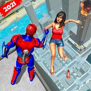 Superhero Flying Robot Crime City Rescue
