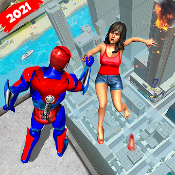 Captura de Pantalla 1 de Robot volar Grand City Rescate para android