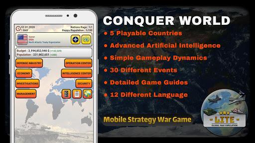 global war simulation lite - strategy war game screenshot 1