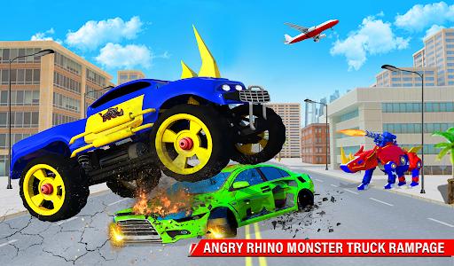 Rhino Robot Monster Truck Transform Robot Games  screenshots 14