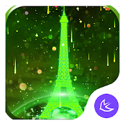 Neon Green Eiffel Tower-APUS Launcher theme