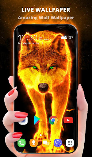 Fire Wallpaper and Keyboard - Lone Wolf android2mod screenshots 1