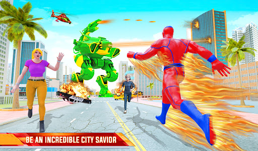 Flying Police Robot Fire Hero: Gangster Crime City apkslow screenshots 11
