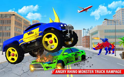 Rhino Robot Monster Truck Transform Robot Games  screenshots 22