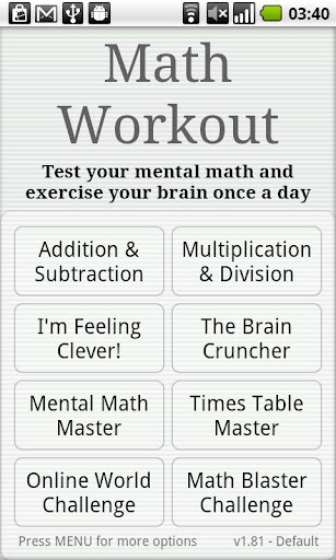 Math Workout  screenshots 1