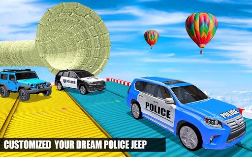 Police Spooky Jeep Stunt Game: Mega Ramp 3D apkpoly screenshots 3