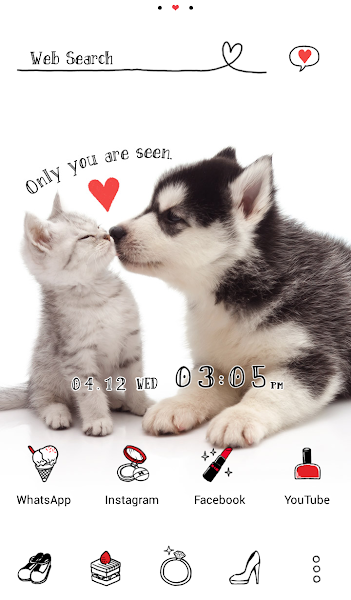 Cute Theme Puppy and Kitten