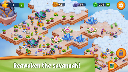 savannah merge! wild animal park & safari zoo game screenshot 2