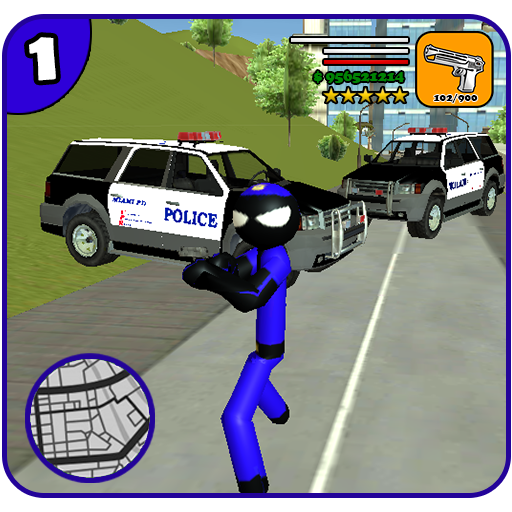 US Police Stickman Rope Hero Vegas Gangster
