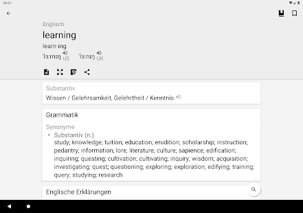 Wörterbuch Englisch Deutsch | English Dictionary Screenshot