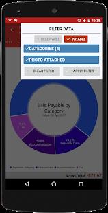 Promemoria fatture, pagamenti Contatti Ricevute tracker Schermata