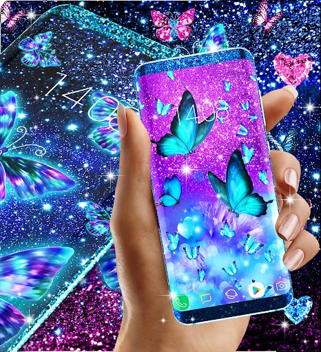 Blue glitter butterflies live wallpaper apktram screenshots 5
