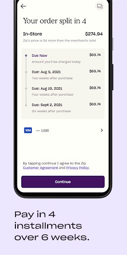 Zip previously Quadpay. Buy now, pay later in four android2mod screenshots 3