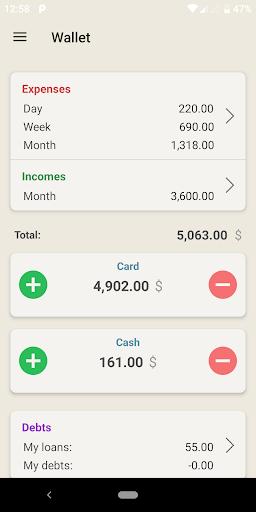 Wallet - cost accounting screenshots 1
