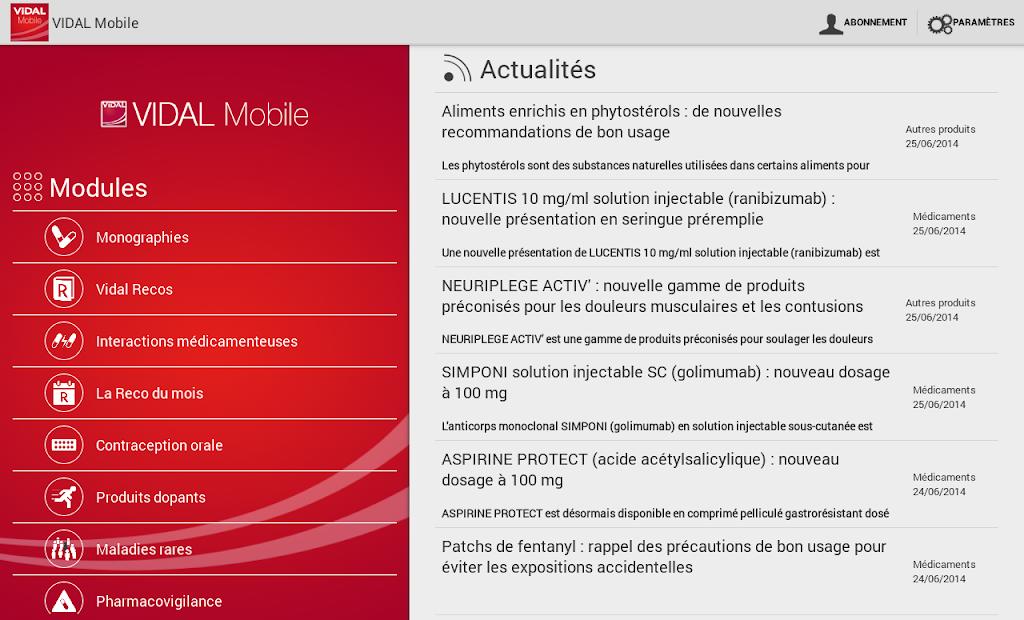 VIDAL Mobile Android App Screenshot