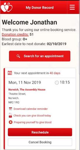 NHSGiveBlood screenshot for Android
