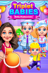 Mommy Birth Triplet Babies Learn Daily Professions