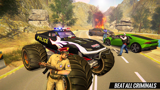 US Police Monster Truck Gangster Car Chase Games  screenshots 8