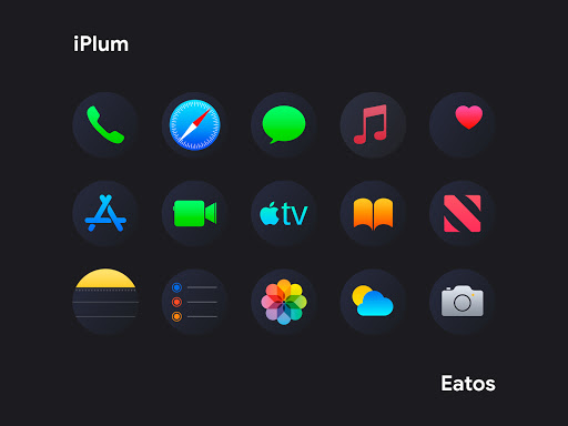 Download APK: iPlum Black – Round Icon Pack v2.8 [Patched]