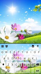 青い空の花キーボードの背景
