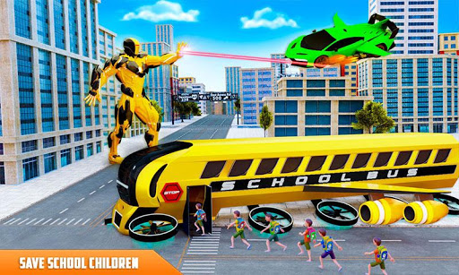 Flying School Bus Robot: Hero Robot Games apkmr screenshots 3