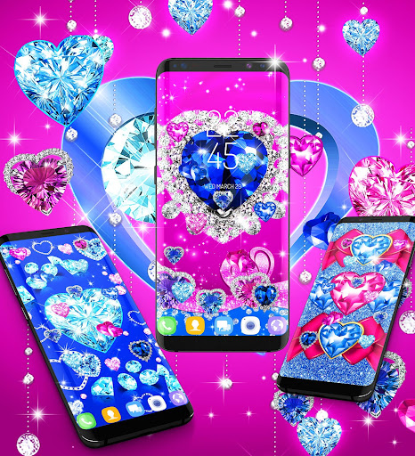 Blue hearts crystal diamonds live wallpaper android2mod screenshots 7