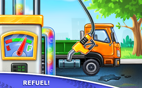 Truck games for kids – build a house, car wash 3