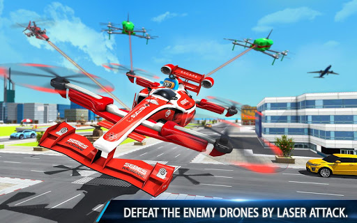 Flying Formula Car Games 2020: Drone Shooting Game apktram screenshots 14