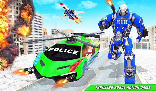 Flying Police Helicopter Car Transform Robot Games 30 Screenshots 12