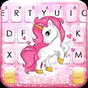 Pink Glitter Unicorn Keyboard Theme