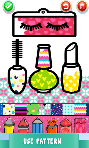 Beauty Drawing Pages Make Up Coloring Book Glitter  Screenshots 4