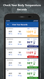 Body Temperature App Screenshot