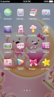 Cute Bear love  honey with Pink hearts DIY Theme 3.9.10 Screenshots 2
