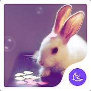 Cartoon Kawaii Pink Rabbit APUS Launcher theme