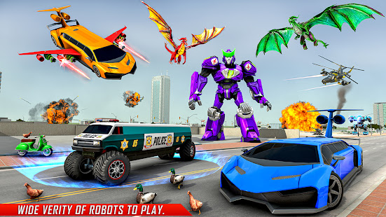 Flying Limo Robot Car Transform: Police Robot Game 1.0.32 Screenshots 1
