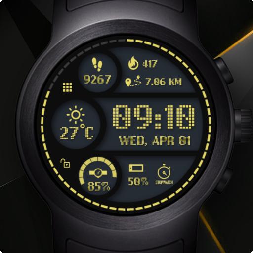 Sporty Digital Watch Face & Clock Live Wallpaper