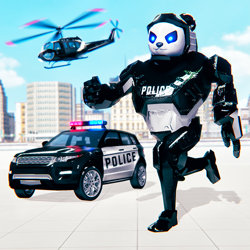 Police Panda Robot Car Transform: Flying Car Games