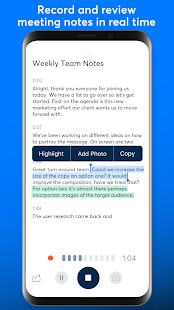 Otter: Meeting Note, Transcription, Voice Recorder Screenshot