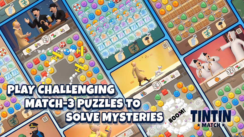 Tintin Match: Solve puzzles & mysteries together! poster 1