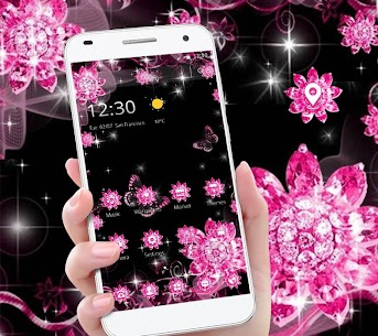 Pink Black Glitter Diamond Flower Sparkling Theme 1.1.3 [MOD APK] Latest 1