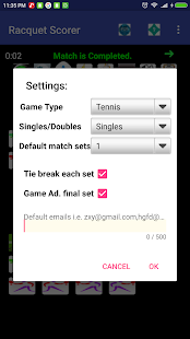 Racquet Game(Tennis,pickleBall ...) Match Scorer Screenshot