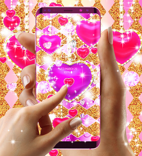 Golden luxury diamond hearts live wallpaper apktram screenshots 20